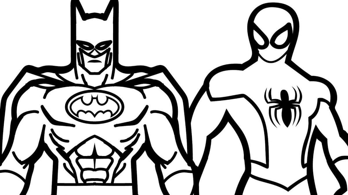 Disegni da colorare di Spider-Man e Batman