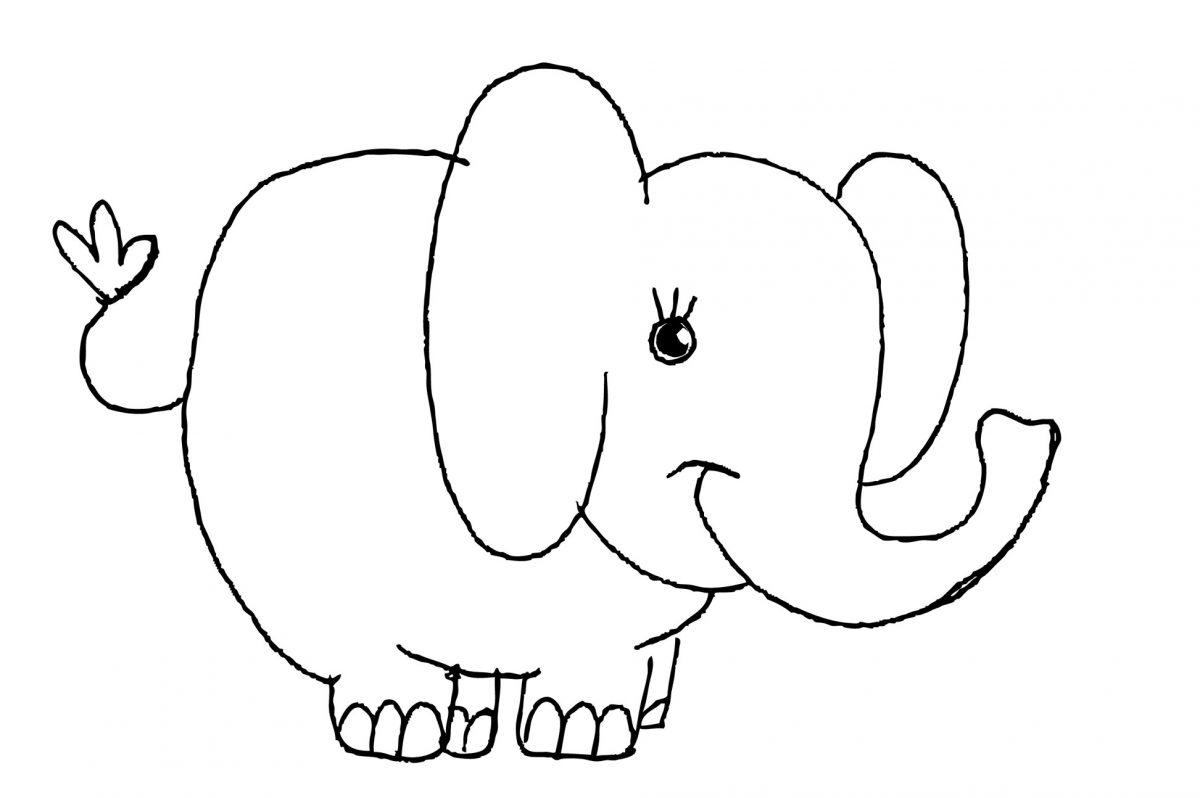disegni con i pastelli a cera elefante