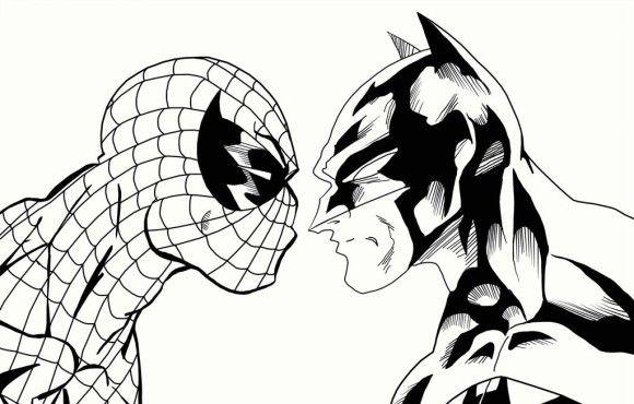 Disegni da colorare di Spider-Man e Batman