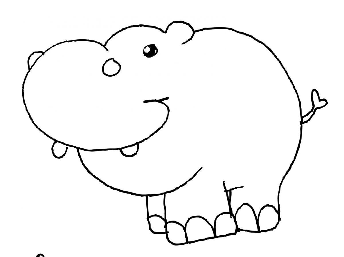 disegni con i pastelli a cera ippopotamo