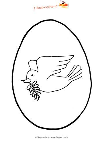 biglietti di Pasqua da colorare per bambini con colomba