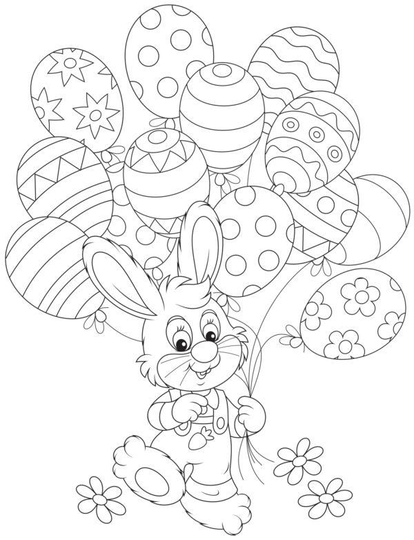 biglietti di Pasqua da colorare per bambini con coniglietto e uova