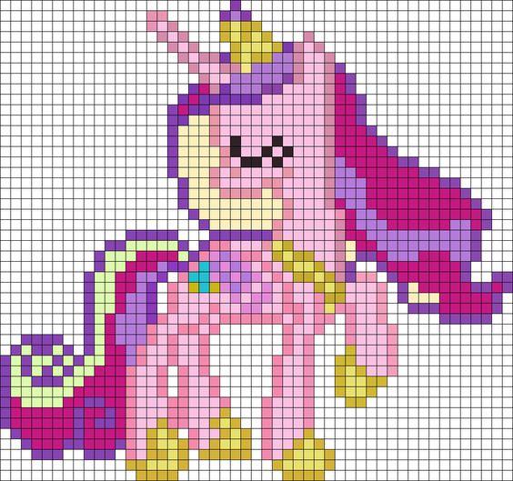 schemi pixel art da stampare _unicorno arcobaleno