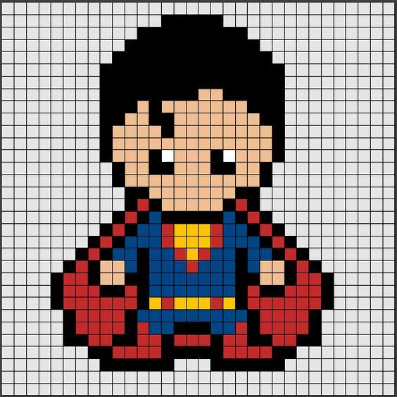 schemi pixel art supereroi _ superman