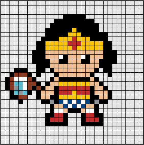 schemi pixel art supereroi _ wonderwoman