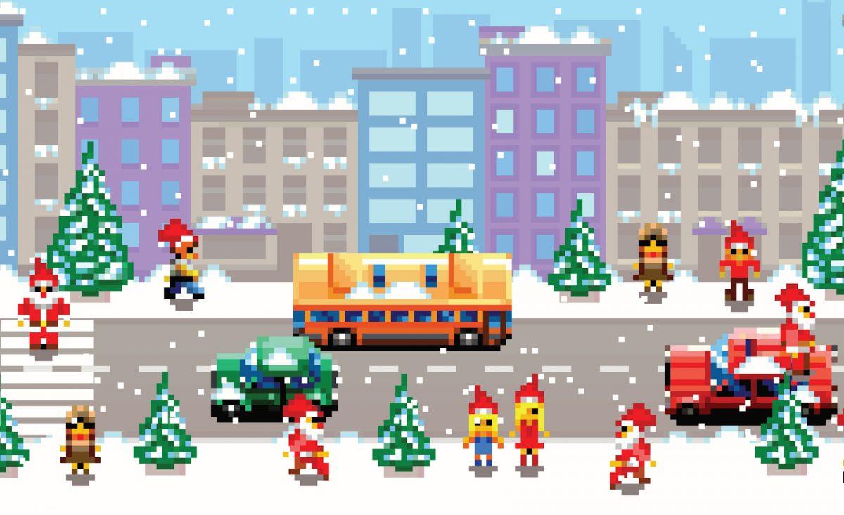 disegni di Natale pixel art_città natalizia