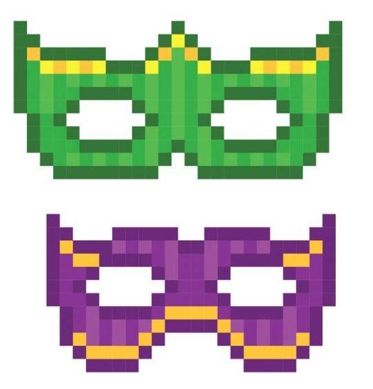 maschere pixel art carnevale