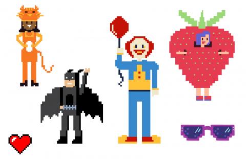 schemi pixel art carnevale per bambini