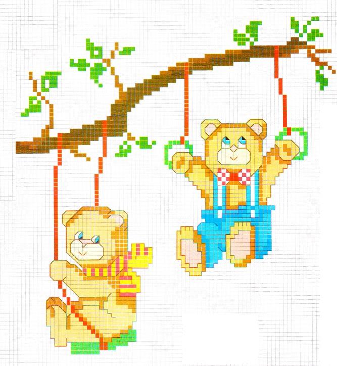 Schema punto croce orsetti for Schemi lenzuolini punto croce