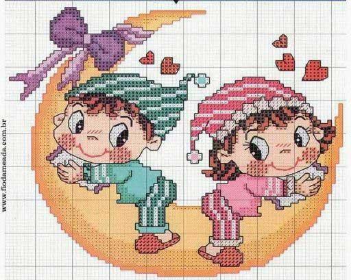 Schemi punto croce per la cameretta dei bambini for Bambini punto croce schemi